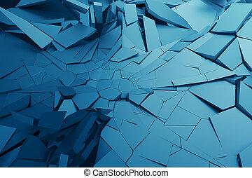 レンダリング, 割れた, surface., 抽象的, 3d