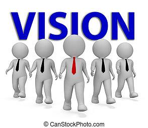 レンダリング, 手段, 目的, ビジネスマン, ∥熱望する∥, ビジョン, 3d