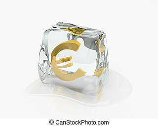 レンダリング, 立方体, 3d, 氷, ユーロ