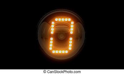 レンダリング, 表示器, lamps., ガス, digit., 0., 解任, ディジット, 3d., 3d, nixie, チューブ, 表示器, zero.