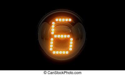 レンダリング, 表示器, lamps., ガス, digit., six., 6., 解任, ディジット, 3d., 3d, nixie, チューブ, 表示器
