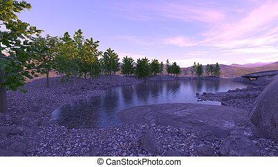 レンダリング, 3d, 湖, 光景