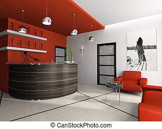 レンダリング, 3d, 部屋, オフィス, レセプション