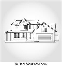 レンダリング, house., wire-frame, バックグラウンド。, 白, 3d
