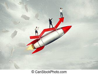 レンダリング, success., 離陸, ビジネス, 3d