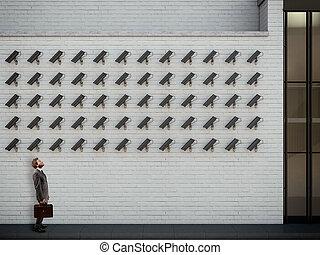 レンダリング, surveillance., 下に, 3d