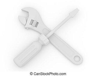 レンチ, そして, screwdriver., tools., 3d