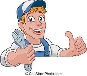 レンチ, 機械工, 漫画, handyman, 配管工, スパナー