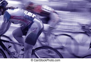 レーサー, 女性, 自転車, グループ, ぼんやりさせられた