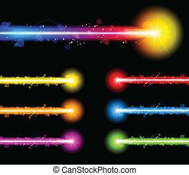 レーザー, ネオン, カラフルである, ライト