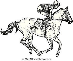 レース, ジョッキー, 乗馬, 図画, 馬