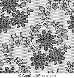 レース, パターン, 黒い背景, 白い花