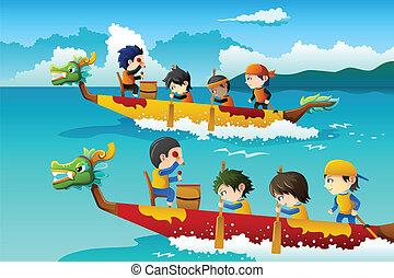 レース, ボート, 子供