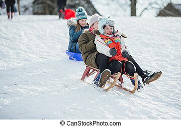 レース, 子供, そりで滑べりなさい