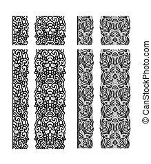 レース, 抽象的, pattern., seamless, テンプレート, 線, design., リボン, doily.