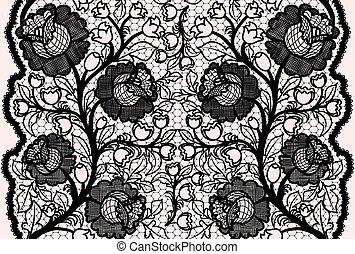 レース, 抽象的, pattern., seamless, 女らしい, 黒, 花, リボン