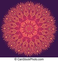 レース, 紫色, パターン, 抽象的, 装飾, 花