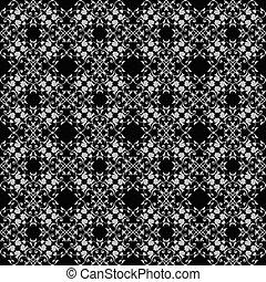 レース, la, 型, pattern., seamless, ベクトル, 黒, バロック式, 白