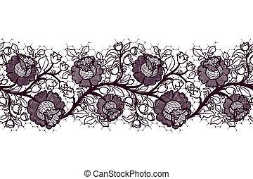 レース, seamless, tracery, バックグラウンド。, 黒, roses., 白い花, リボン