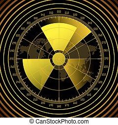 レーダー, スクリーン, 放射性, 印