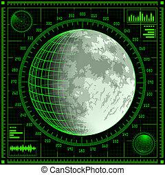 レーダー, スクリーン, 月