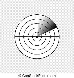 レーダー, スクリーン, icon.