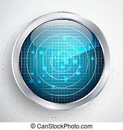 レーダー, スクリーン, map., バックグラウンド。, vector., デジタル世界, 未来派
