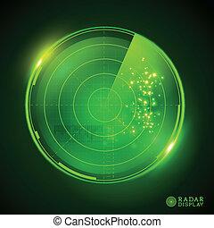 レーダー, ベクトル, 緑, ディスプレイ