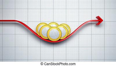 レート, ユーロ, 変化する, 交換