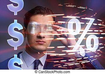 レート, 興味, 高く, 概念, ビジネスマン