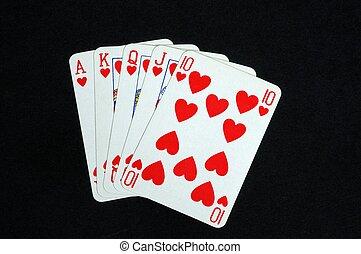 ロイヤルフラッシュ, ポーカー, 手。