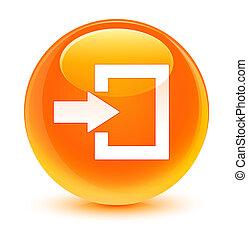ログイン, アイコン, ガラス状, オレンジ, ラウンド, ボタン