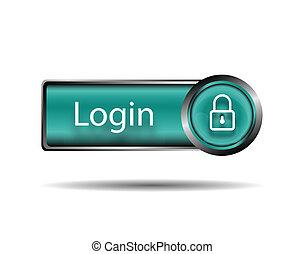 ログイン, ボタン, 印