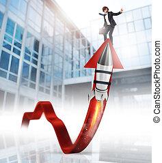 ロケット, ビジネス, の上, 助け, 統計値, 成長しなさい, 改良しなさい