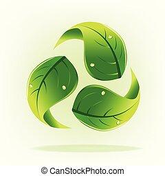 ロゴをリサイクルしなさい, エコロジー, leafs, 自然