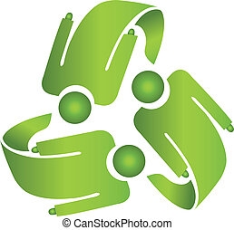 ロゴをリサイクルしなさい, 男性, チームワーク, ベクトル