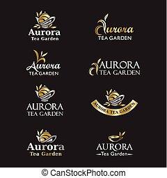 ロゴ, お茶, set., アイコン
