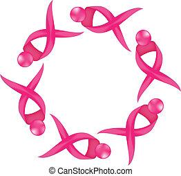 ロゴ, がん, リボン, 認識, 胸