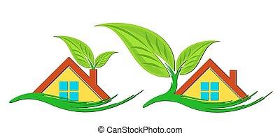 ロゴ, の, eco, 味方, cottages.