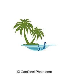 ロゴ, やし, 島, mermaid