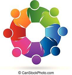 ロゴ, アイコン, チームワーク, ミーティングの人々