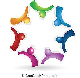 ロゴ, アイコン, ミーティング, チームワーク