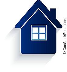ロゴ, アイコン, 平ら, 家