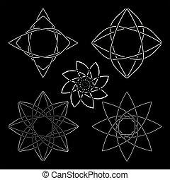 ロゴ, アイコン, 正確, コレクション, 幾何学的, 白, style.