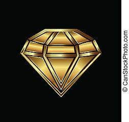 ロゴ, イメージ, ダイヤモンド, 金