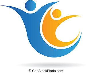 ロゴ, イメージ, チームワーク, 人々