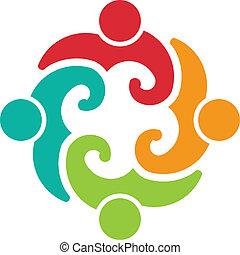 ロゴ, イメージ, チーム, 4, ボランティア
