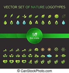 ロゴ, エコロジー, アイコン, 自然