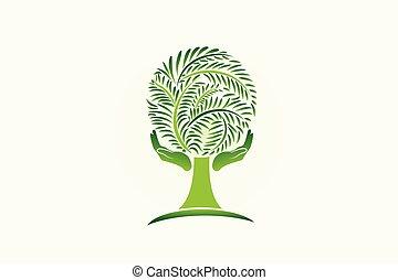 ロゴ, エコロジー, 木, 心配, 手