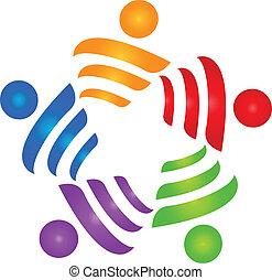 ロゴ, エネルギー, ベクトル, チームワーク, 人々